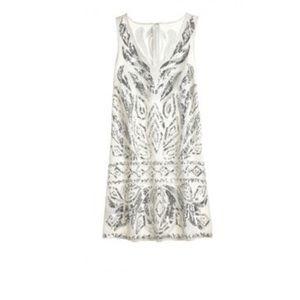 Calypso St. Barth White Linen Sequins Shift Dress
